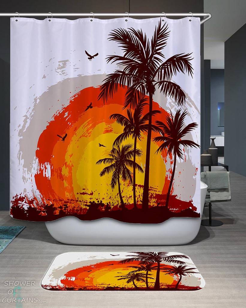 Shower Curtains with Tropical Sunset Drawing