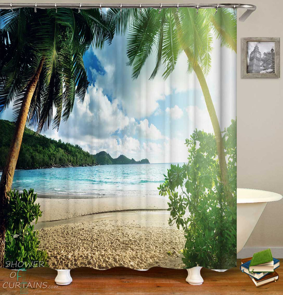 Shower Curtains with Tropical View Beach