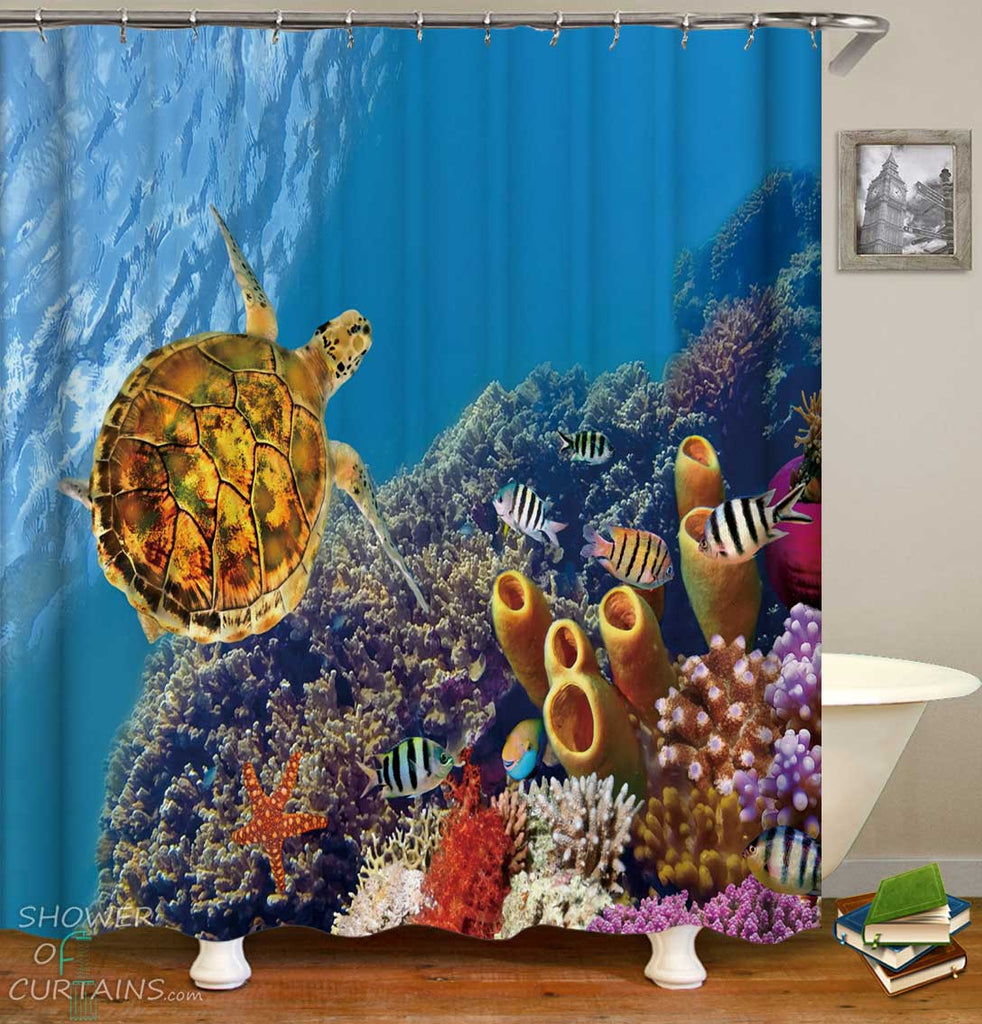 Shower Curtains with Turtle in the Coral Reef