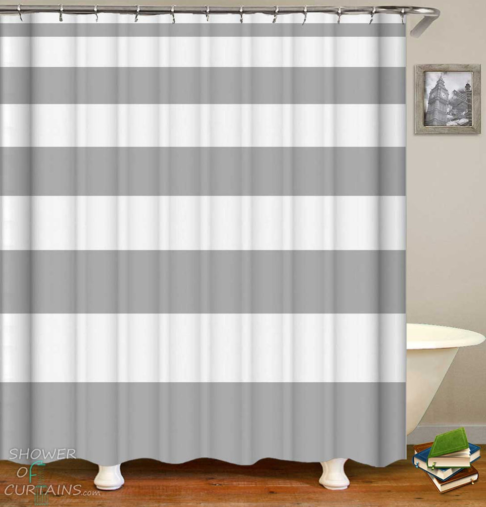Shower Curtains with Uneven Grey Stripes