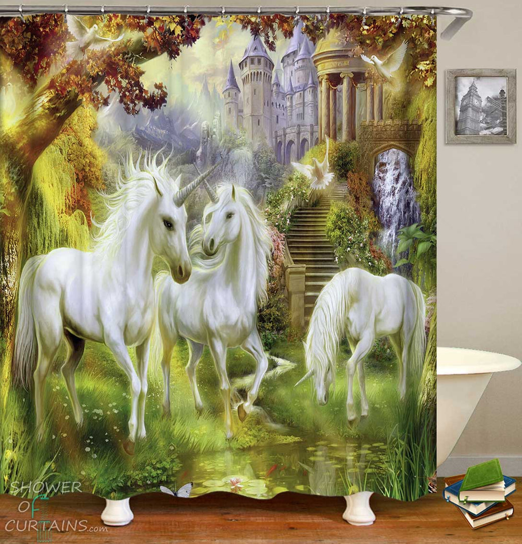 Shower Curtains with Unicorns Castle