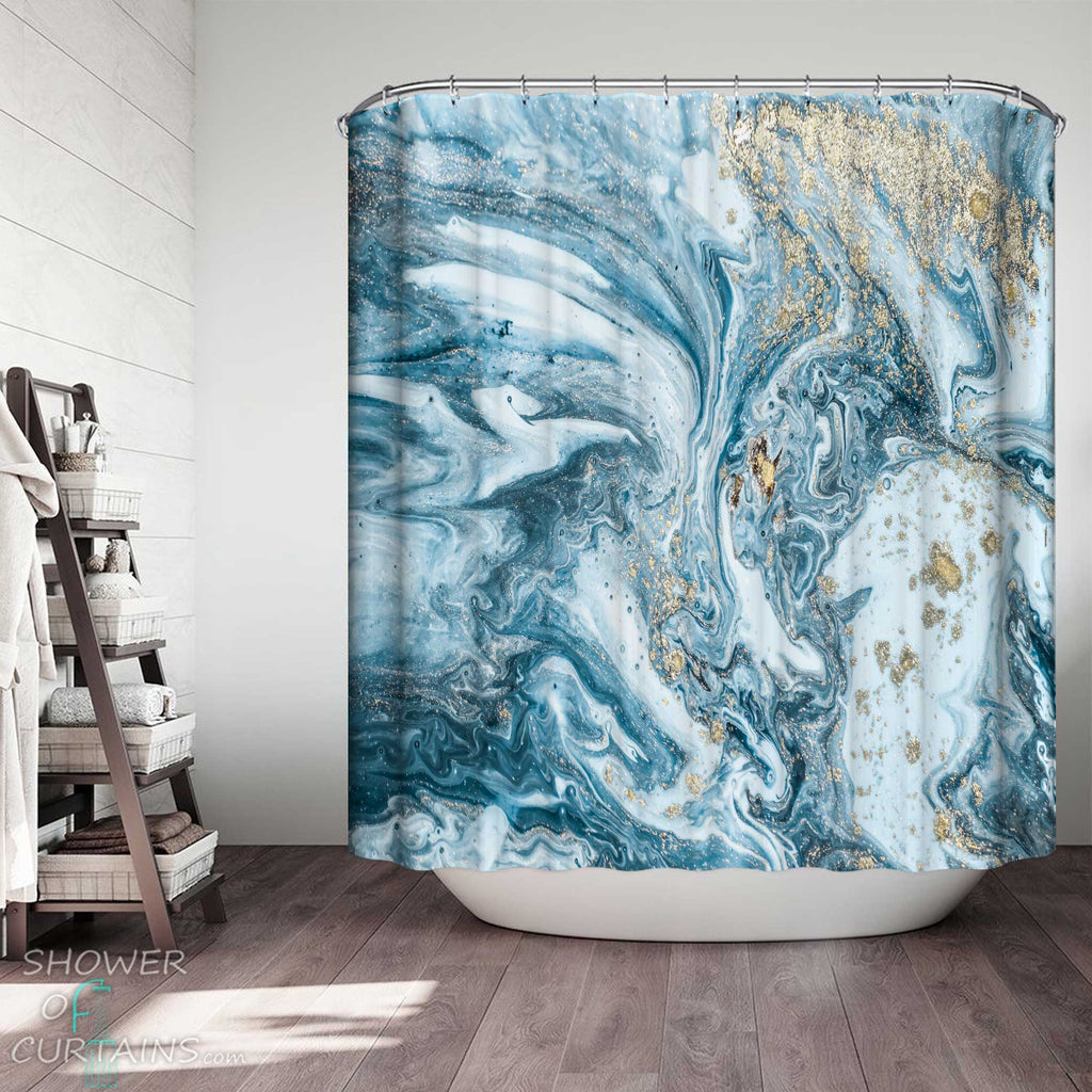 Shower Curtains with Water Blue Marble