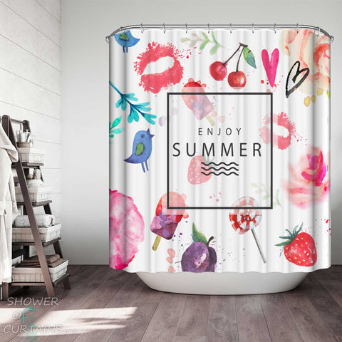 Shower Curtains with Watercolor Enjoy Summer Mix