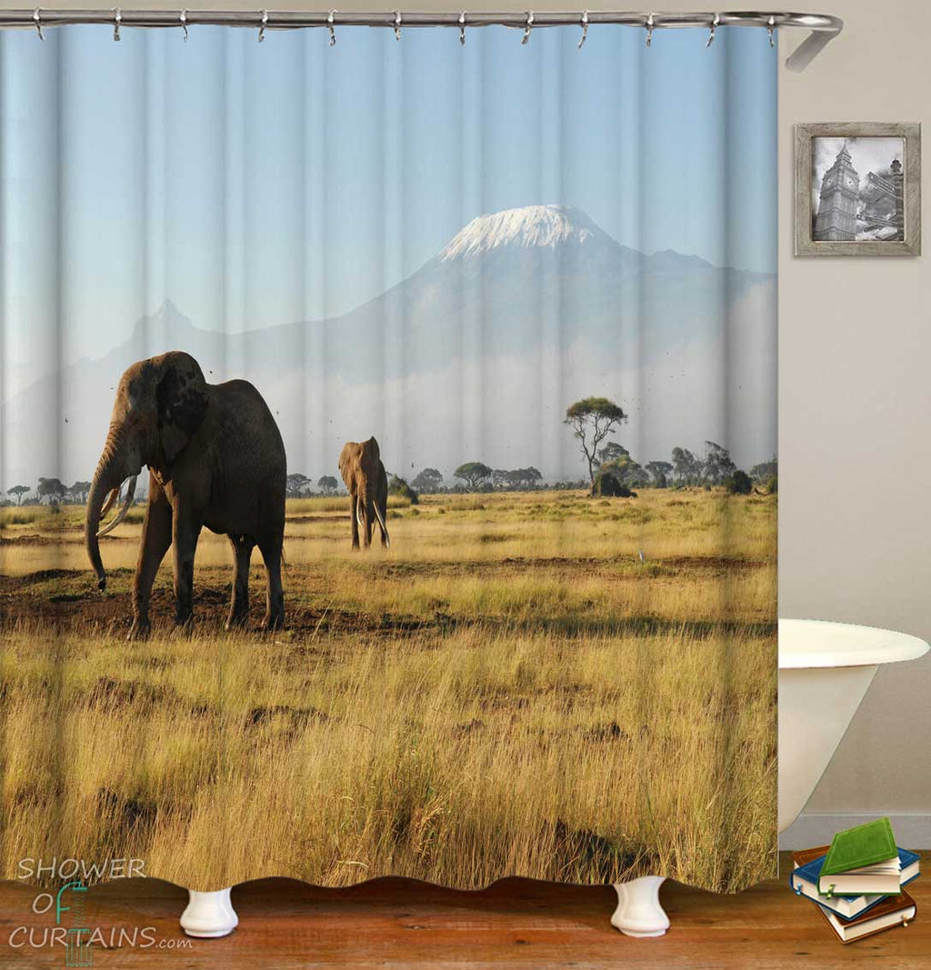 Shower Curtains with Wild Elephants
