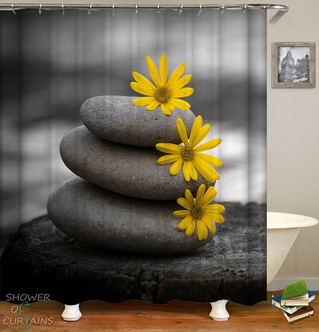 Shower Curtains with Yellow Flowers on Pebbles