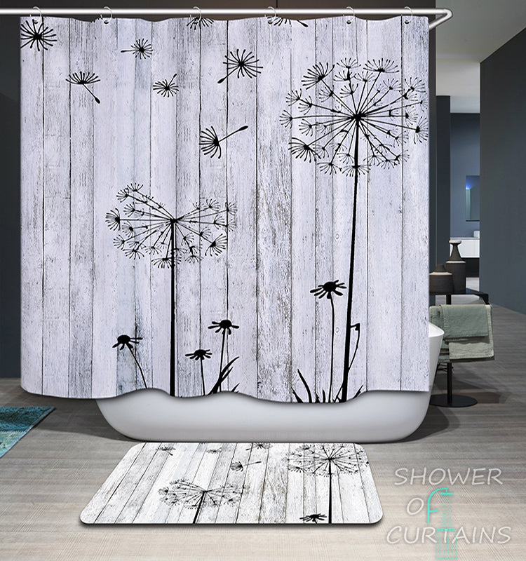 Shower Curtain Black And White Groundsel's Seeds