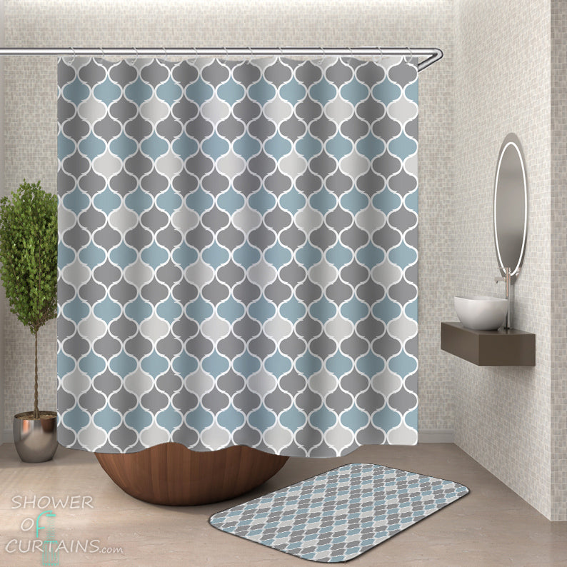 Shower Curtain Classic - Grey Aqua Moroccan Shape