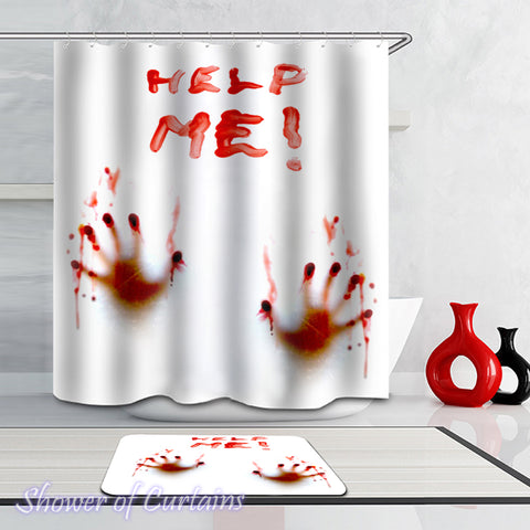Shower Curtain Help Me(!) Bloody Hands print