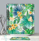 Green Shower Curtain - Yellow Tropical Flowers
