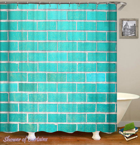 Shower Curtain Turquoise Bricks