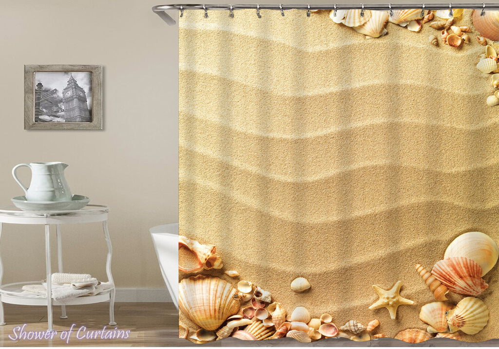 Beach and seashell shower curtain