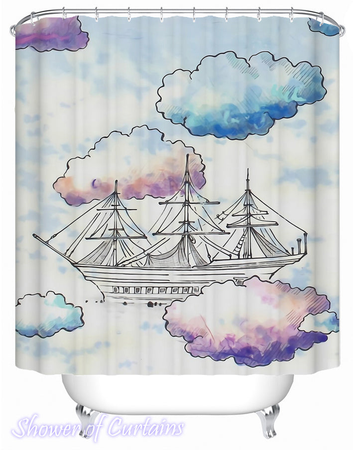 Shower Curtain of A ship is Sailing The Clouds