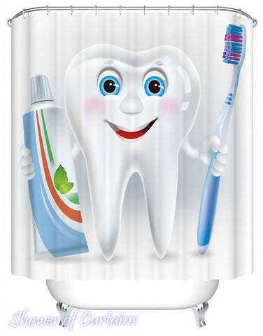 Shower Curtain of Animated Tooth Character