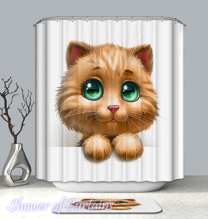Shower Curtain Of Big Green Eyes Cat Figure
