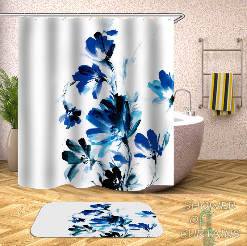 Blue Purple Painted Modern Flowers Shower Curtain Black White Floral Painting