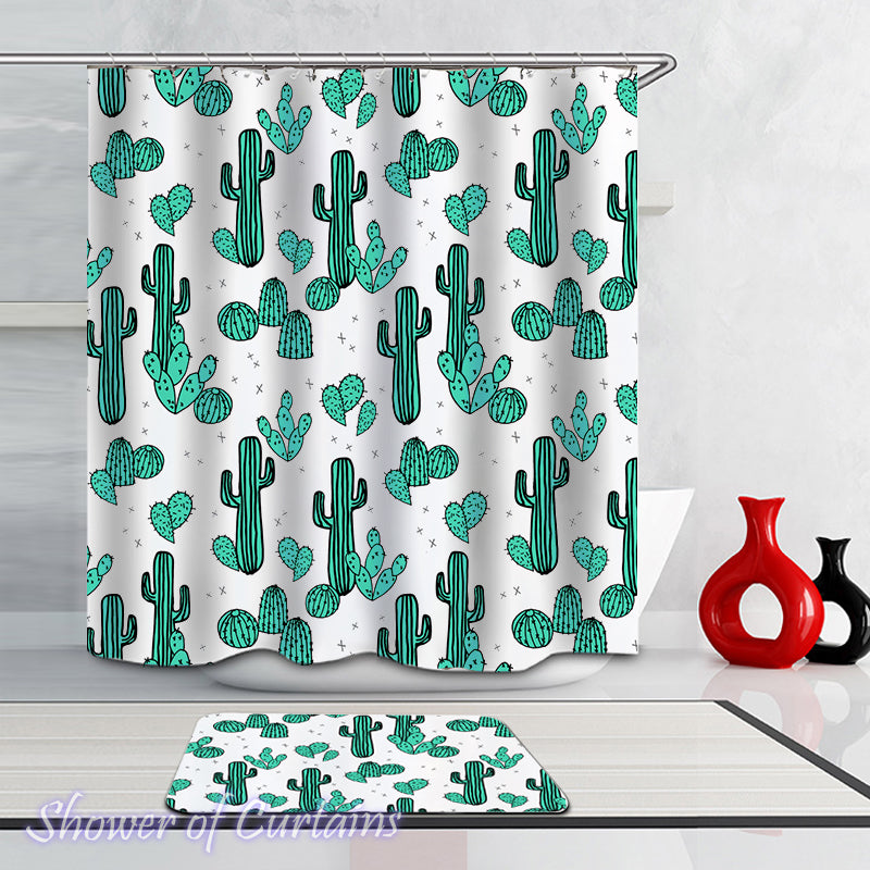 Shower Curtain of Cactus Art