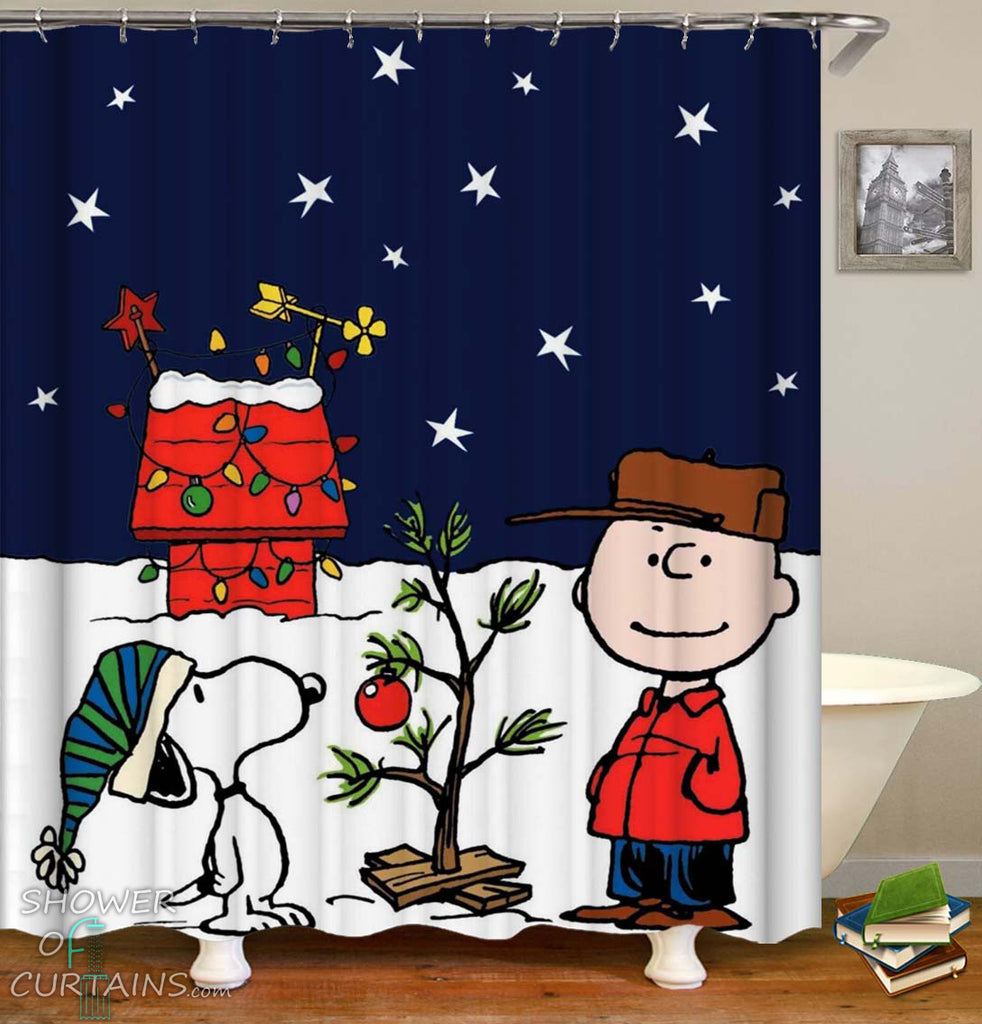 Shower Curtain of Christmas With Charlie Brown And Snoopy
