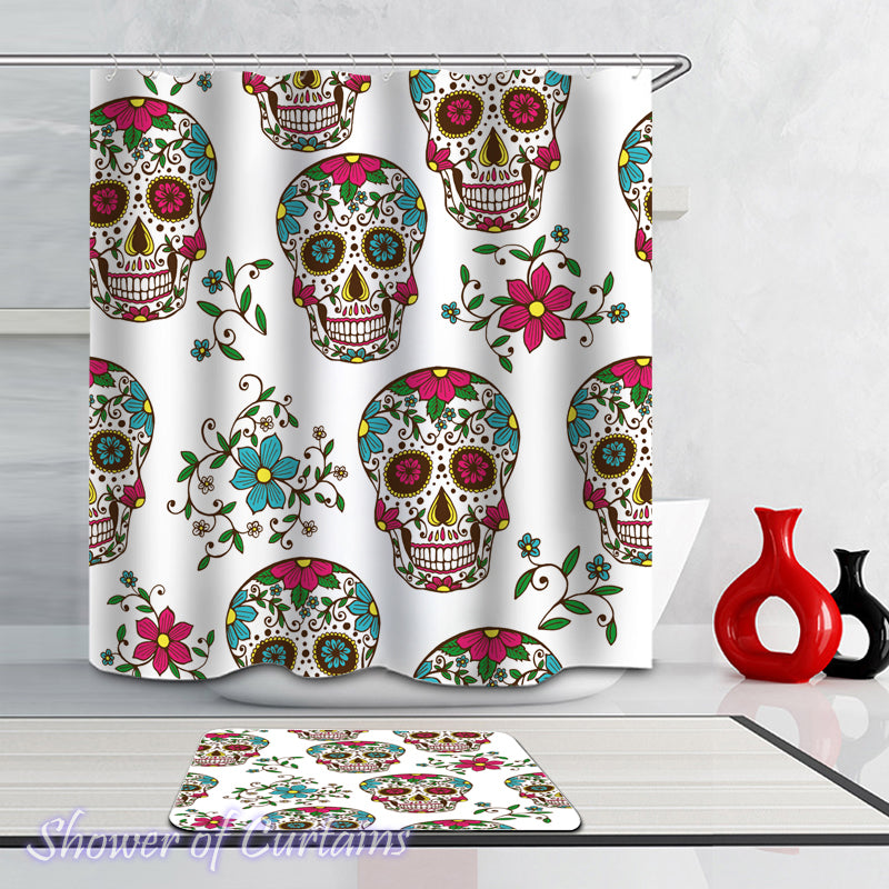 Shower Curtain of Colorful Blooming Skulls