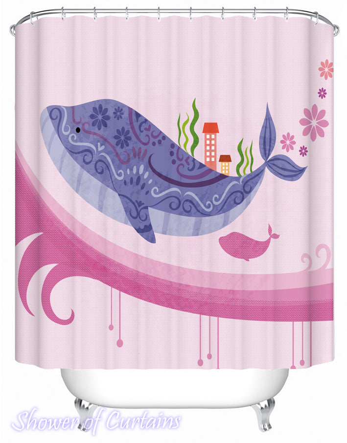 Shower Curtain of Colorful Whale