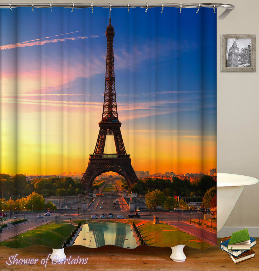 Shower Curtain of Eiffel Tower At Sunset