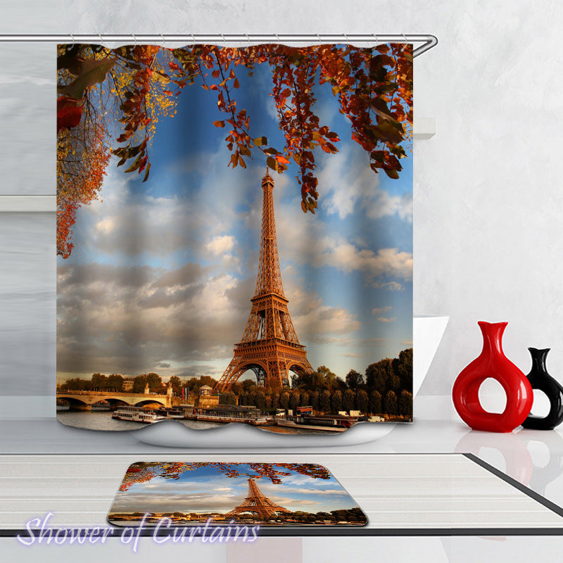 Shower Curtain of Eiffel Tower Autumn Colors