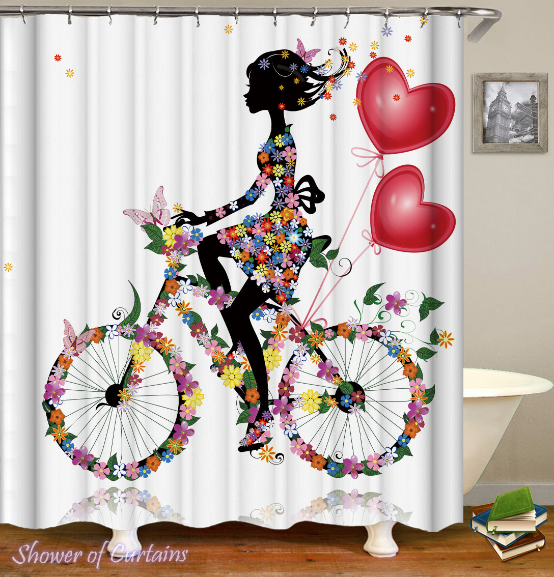 Shower Curtain Of Flower Girl Riding A Bicycle