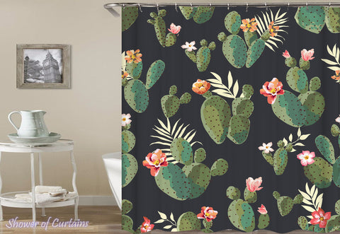 Shower Curtain of Flowering Cactus