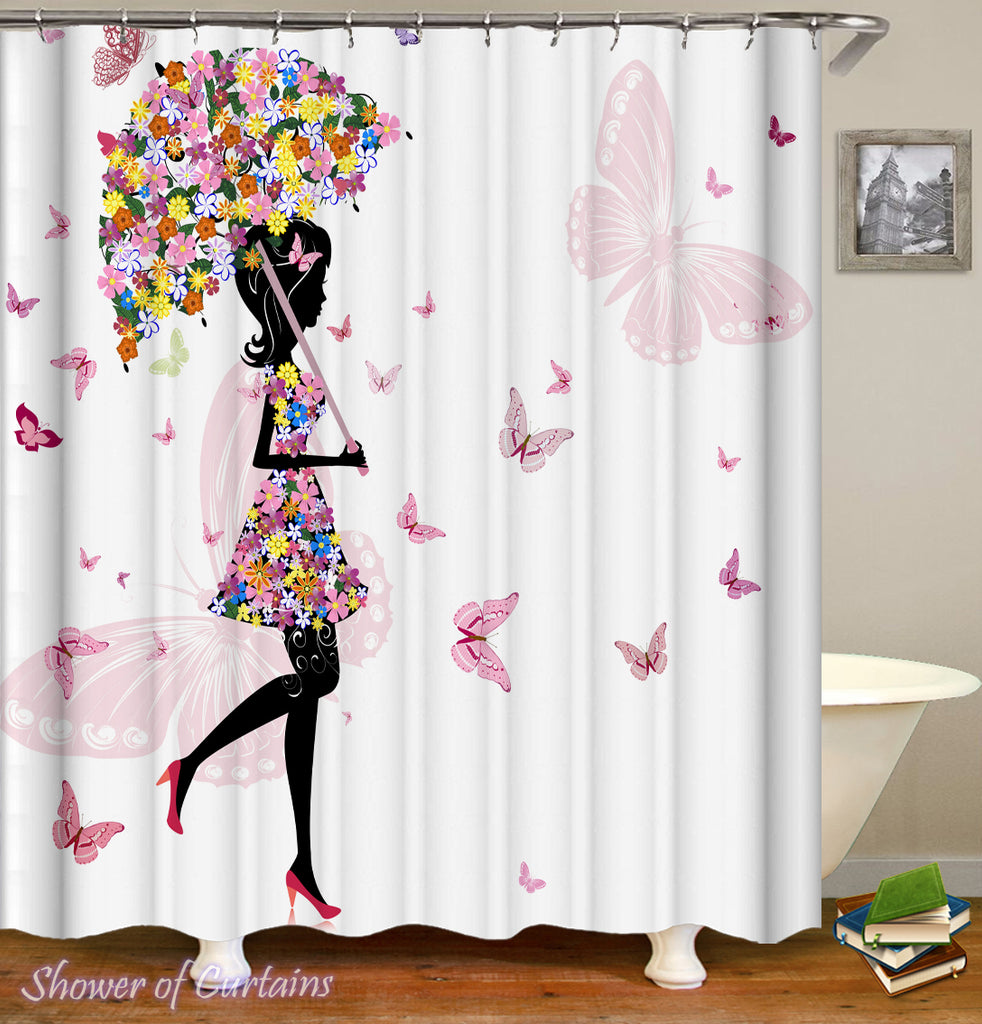 Shower Curtain of Flowery Black White Girl