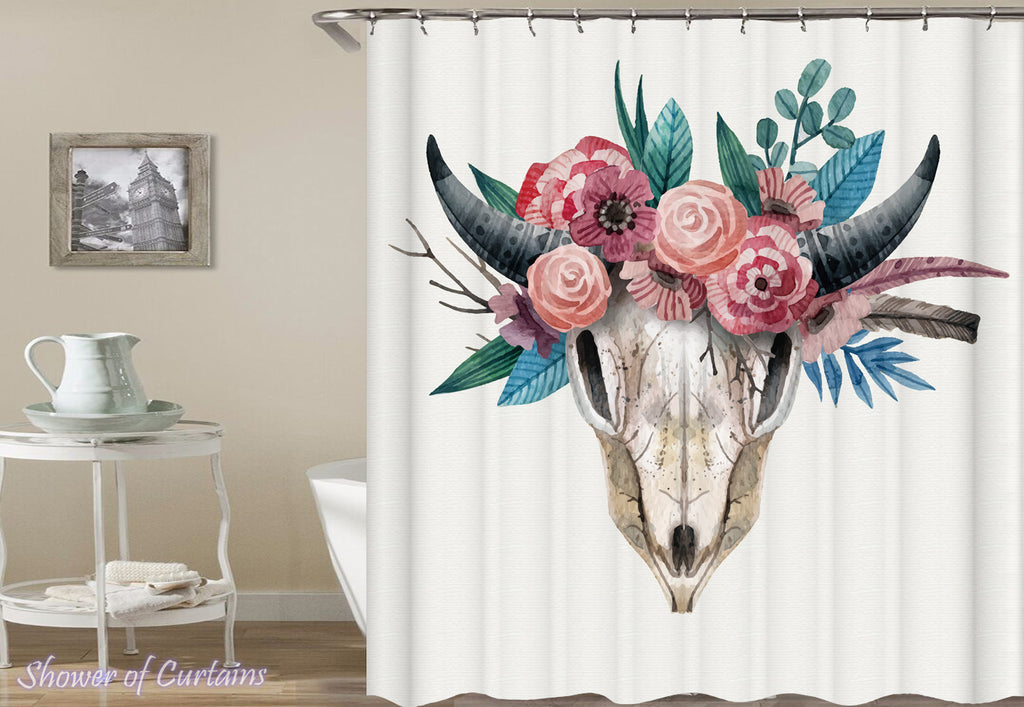 Flowery Goat's Skull Shower Curtain