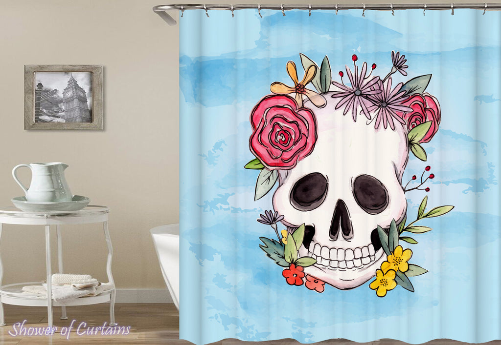 Flowery Skull Drawing Shower Curtain Print