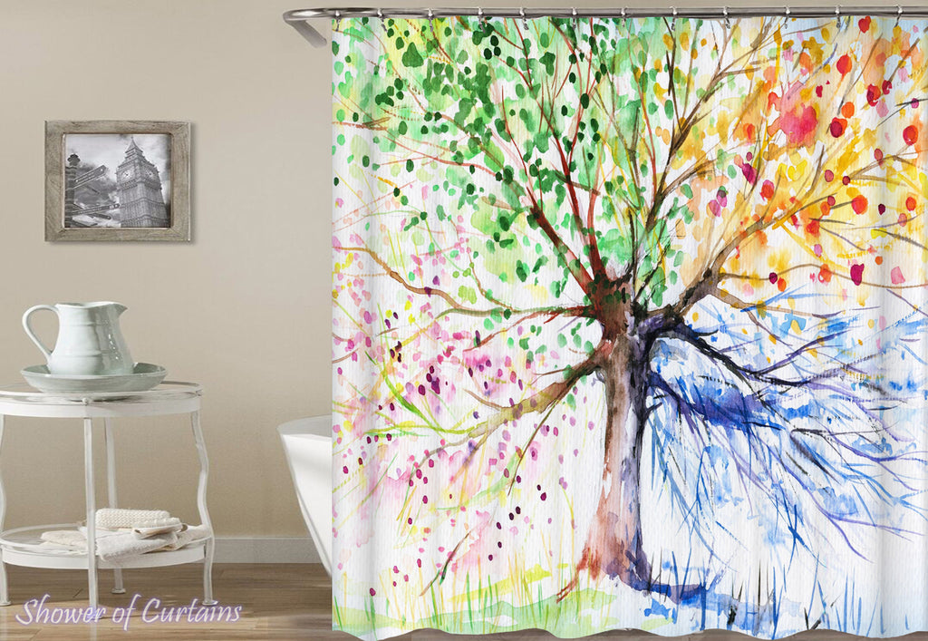 Shower Curtain of Four Colors Tree