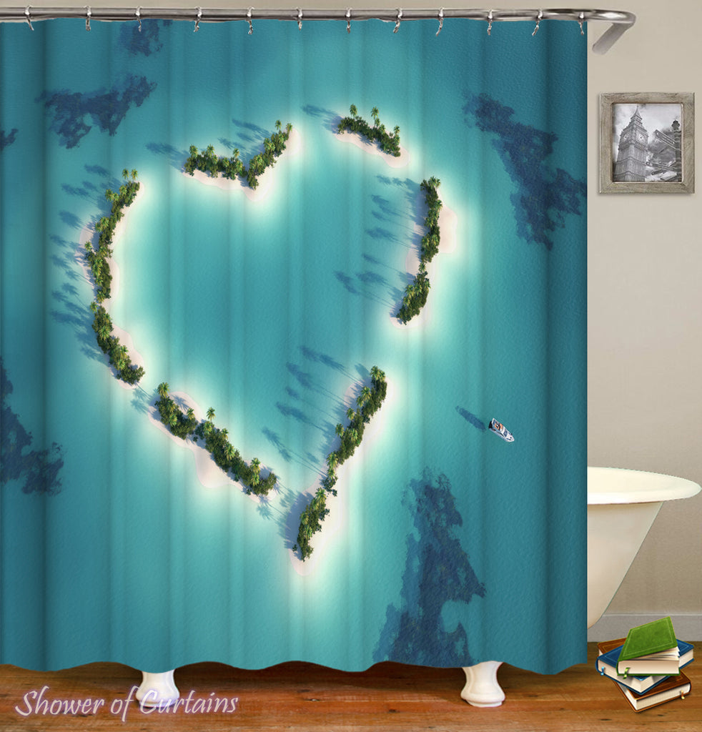 Shower Curtain of Heart Shape Ocean's Sky View
