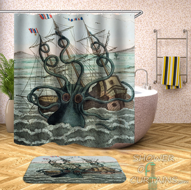 Shower Curtain of Kraken Attack
