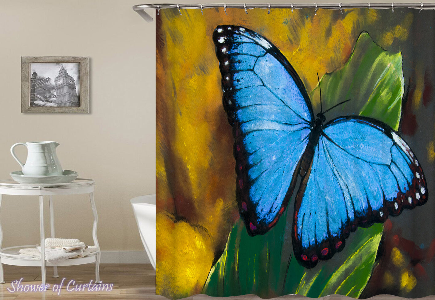 Shower Curtain Of Malibu Blue Butterfly