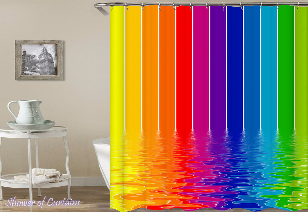 Shower Curtain of Melting Rainbow Colors