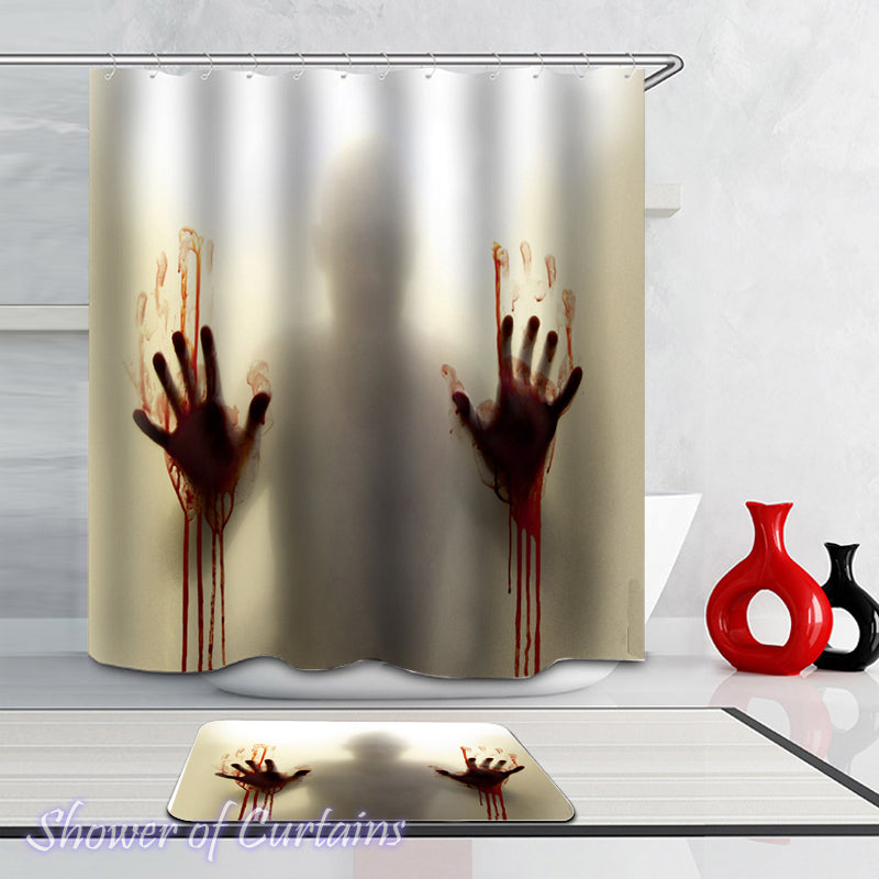 Men's Bloody Hands Shadow Shower Curtain Themed