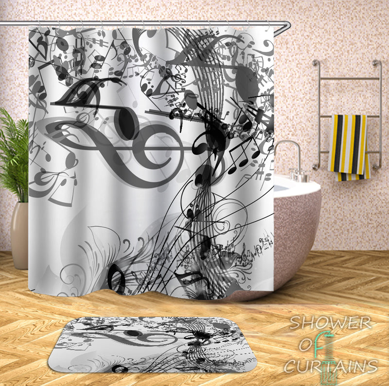 Shower Curtain of Music Notes Black And White