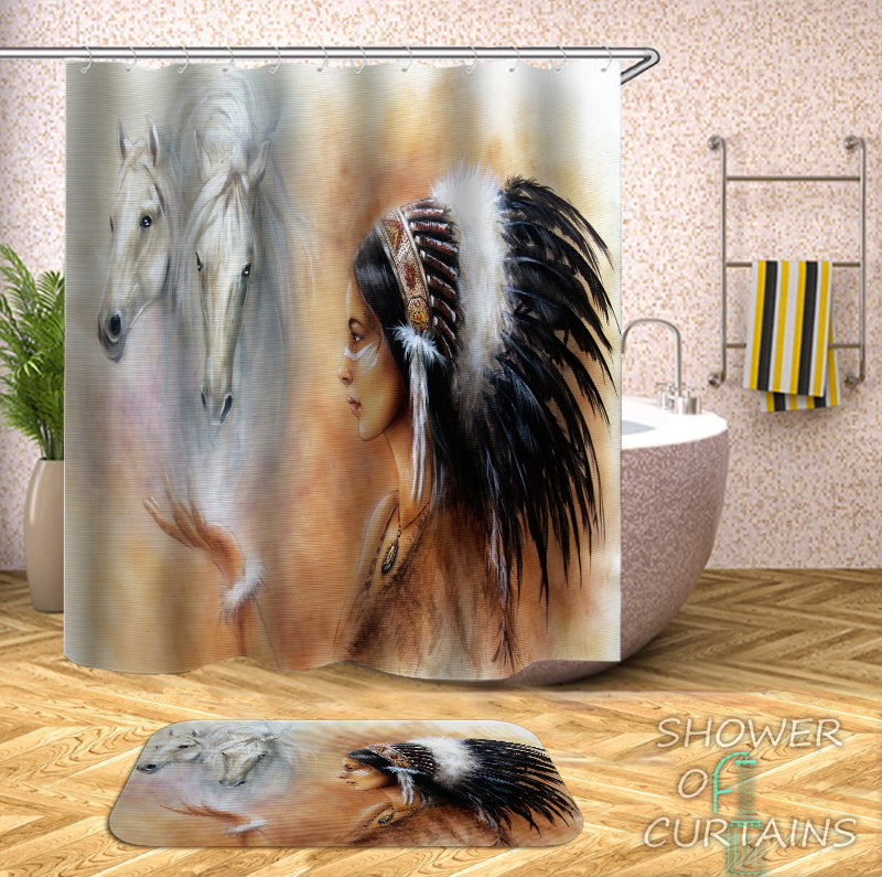 Shower Curtain of Native American Girl And Horses