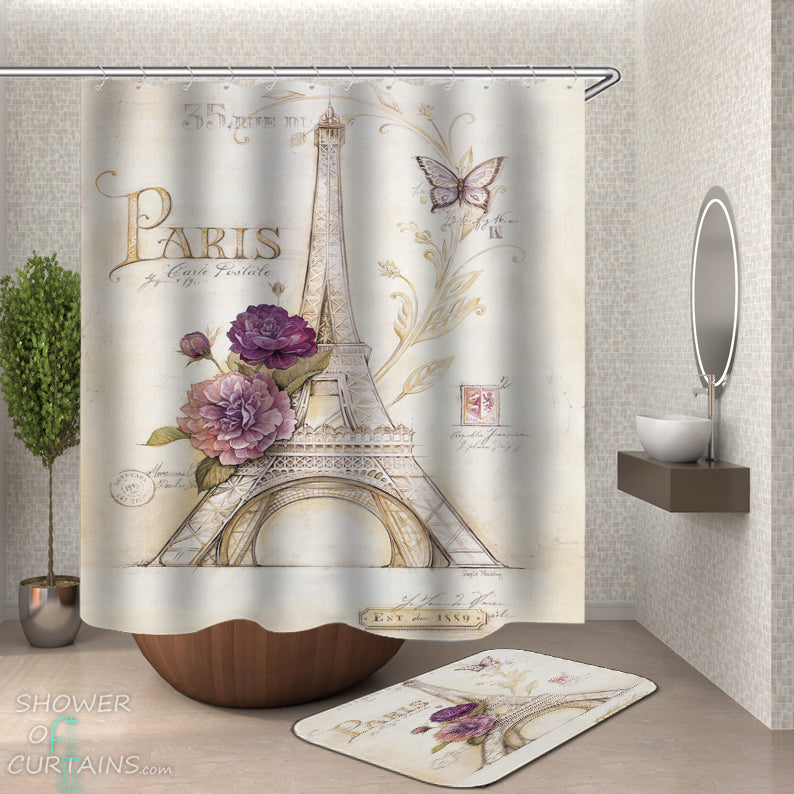 Shower Curtain of Paris Postcard - Bathoom Decor of Paris