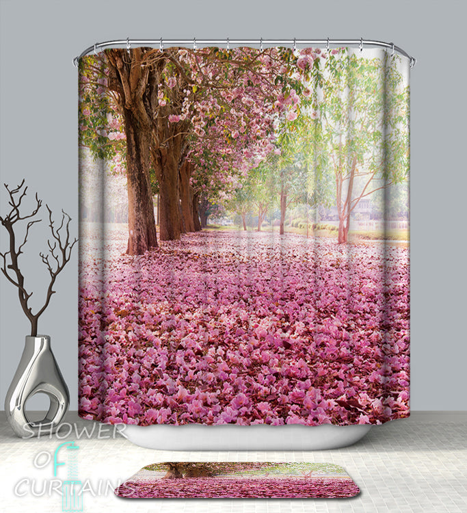 Shower Curtain of Pink Trees Avenue