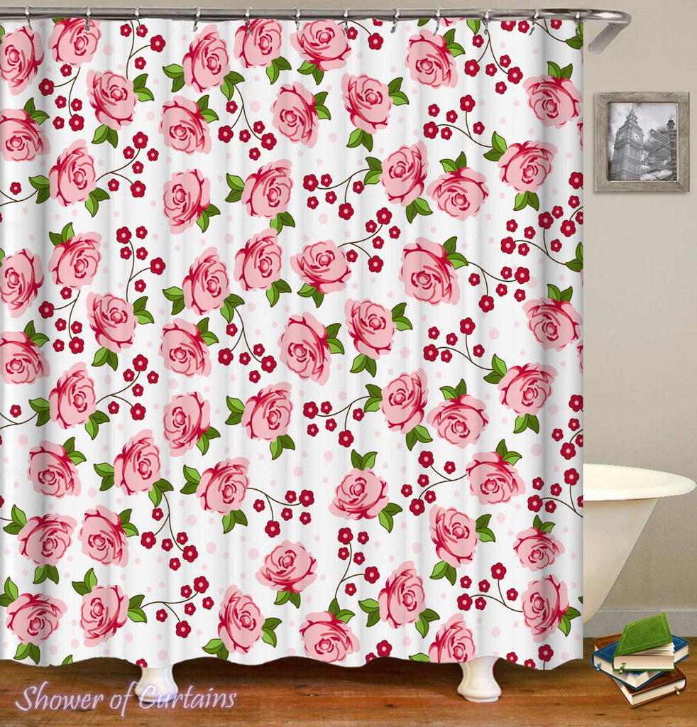 Shower Curtain of Pinkish Roses Pattern