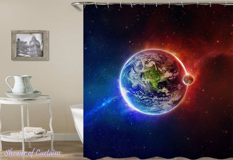 Shower Curtain of Plant Earth And The Moon
