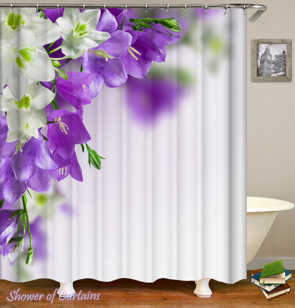 Shower Curtain of Purple And White Flowers