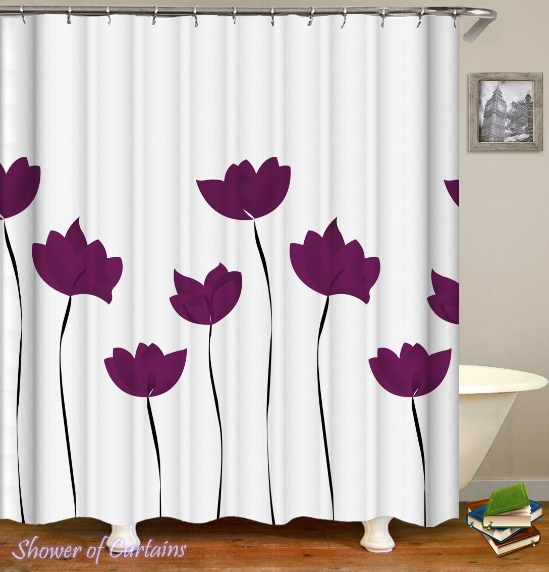 Shower Curtain Of Purple Tulip Drawing
