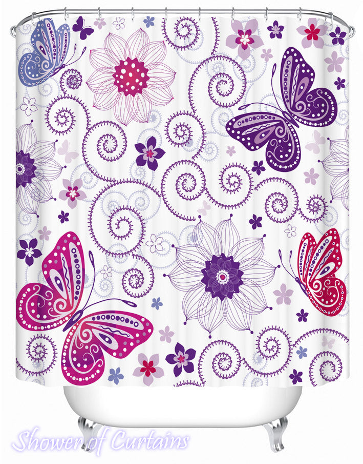 Shower Curtain of Purplish Butterflies and Flowers