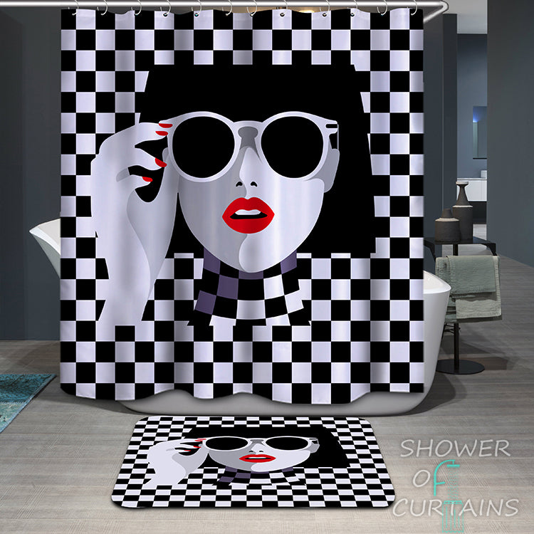 Shower Curtain of Red Lipstick Chic Lady