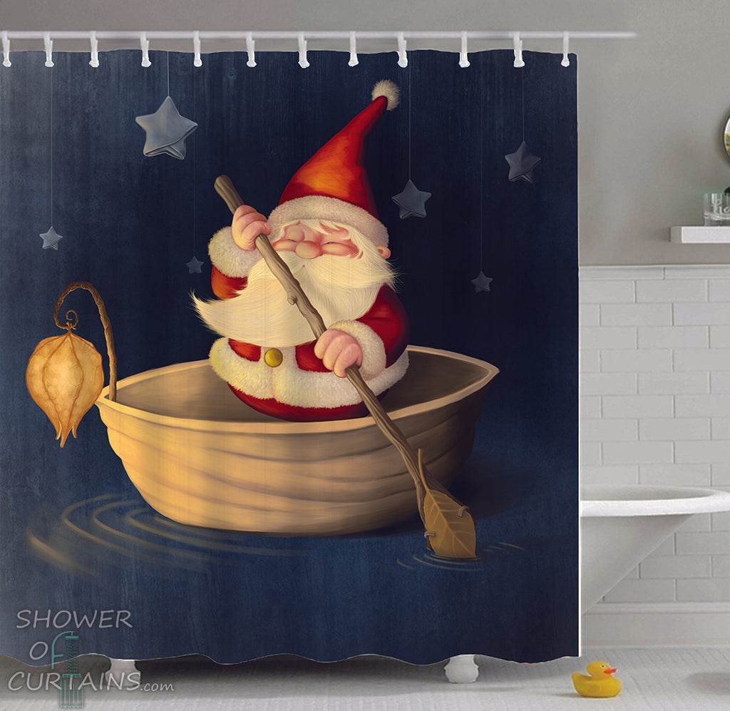 Shower Curtain of Santa Is Paddling - Christmas Theme