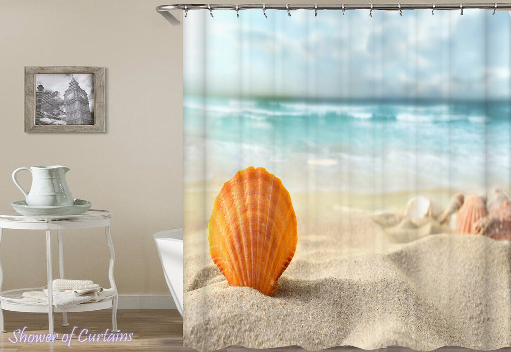 Shower Curtain of Seashell With An Ocean View