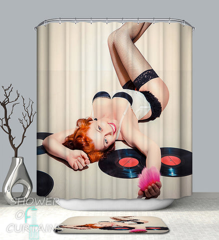 Shower Curtain of Sexy Records Girl