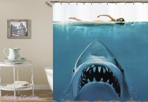Shark Attack(!) Print on Shower Curtain